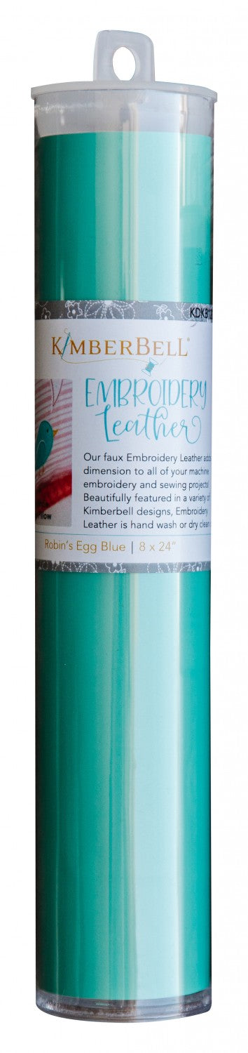 Emboridery Leather Robins Egg Blue