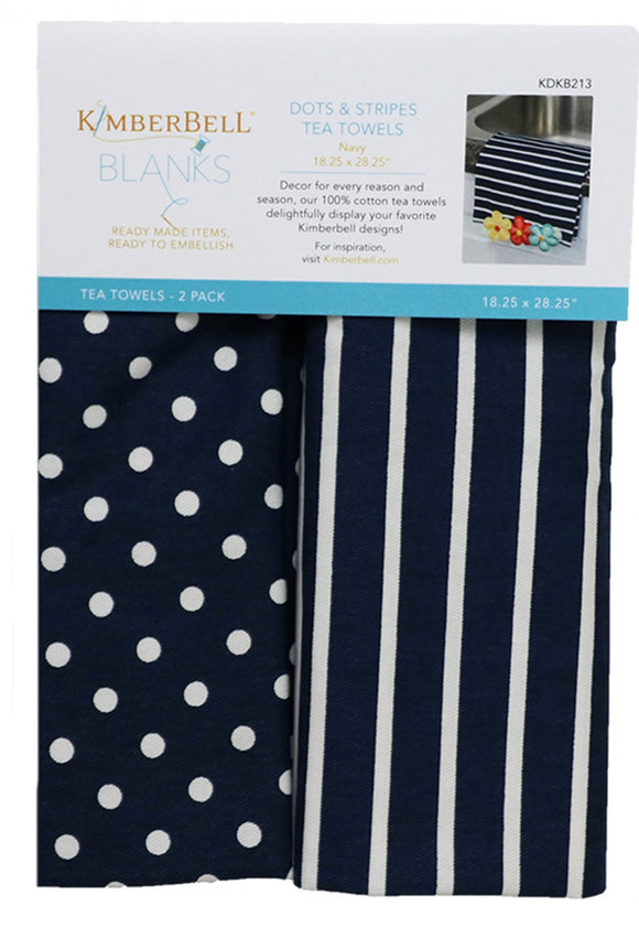 Dots and Stripes Tea Towels Navy