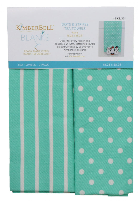 Dots and Stripes Tea Towels Aqua