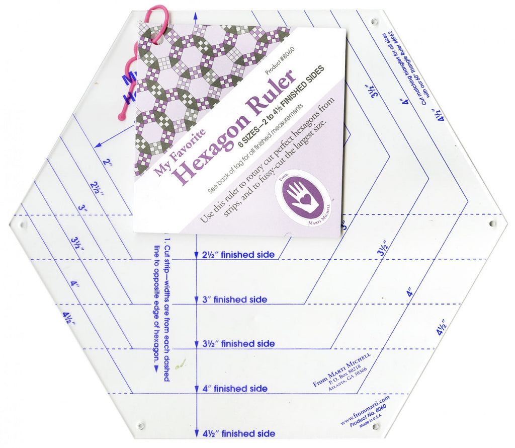 Hexagon Ruler Cuts 6 Sizes