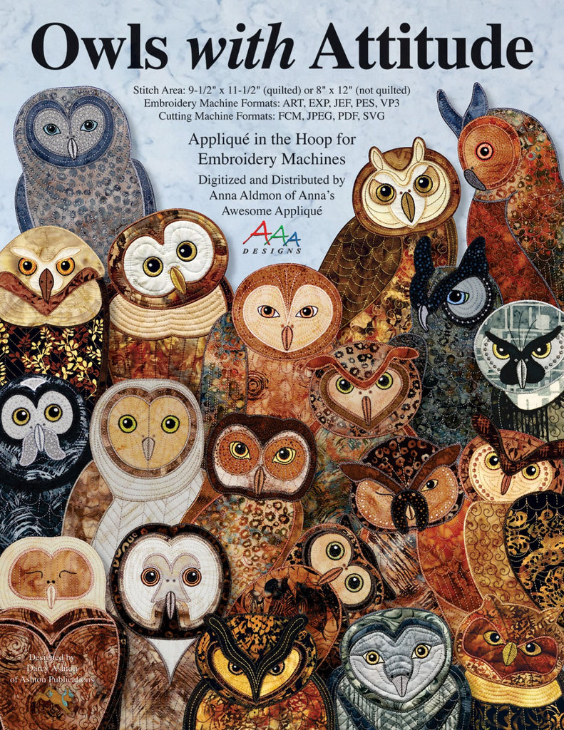 Owls with attitude machine embroidery cd quilting books patterns owls with attitude machine embroidery cd bankloansurffo Image collections