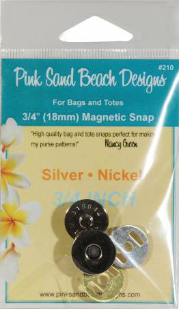 Magnetic Purse Snap - Silver Nickel 3/4in