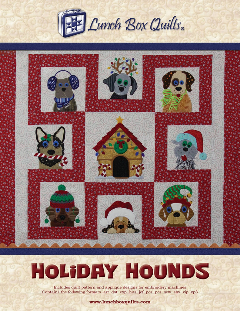 Holiday Hounds Applique Machine Embroidery CD