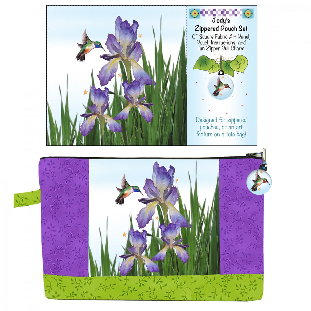 Zipper Pouch Set Iris Hummingbird