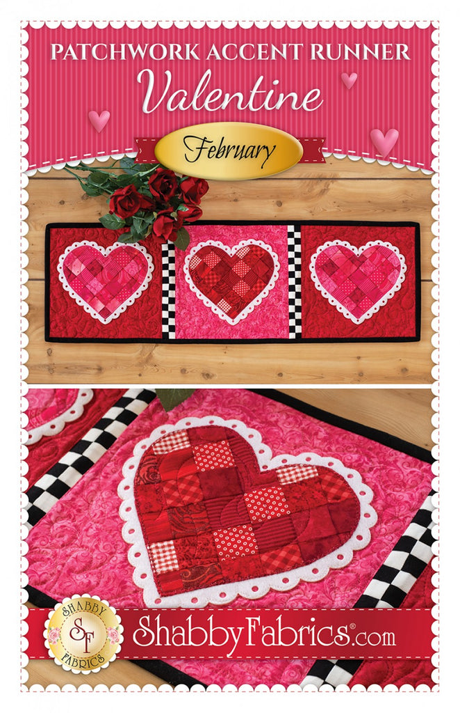 Patchwork Accent Runner Hearts February