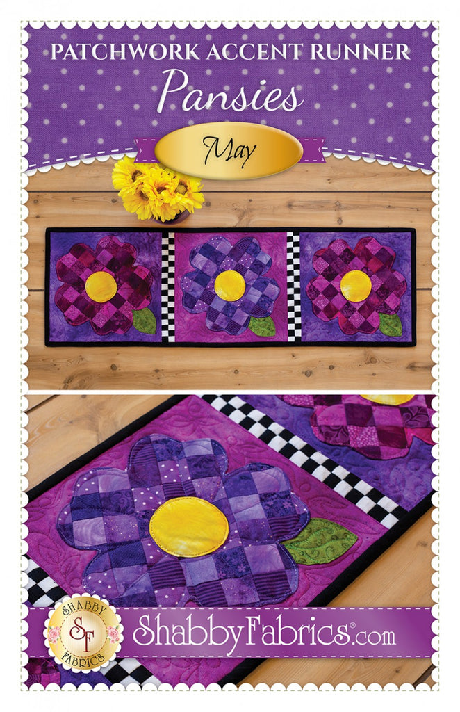 Patchwork Accent Runner Pansies May