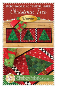 Patchwork Accent Runner Christmas Trees December