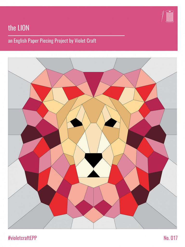 image relating to Free Printable English Paper Piecing Templates titled Lion English Paper Piecing Challenge