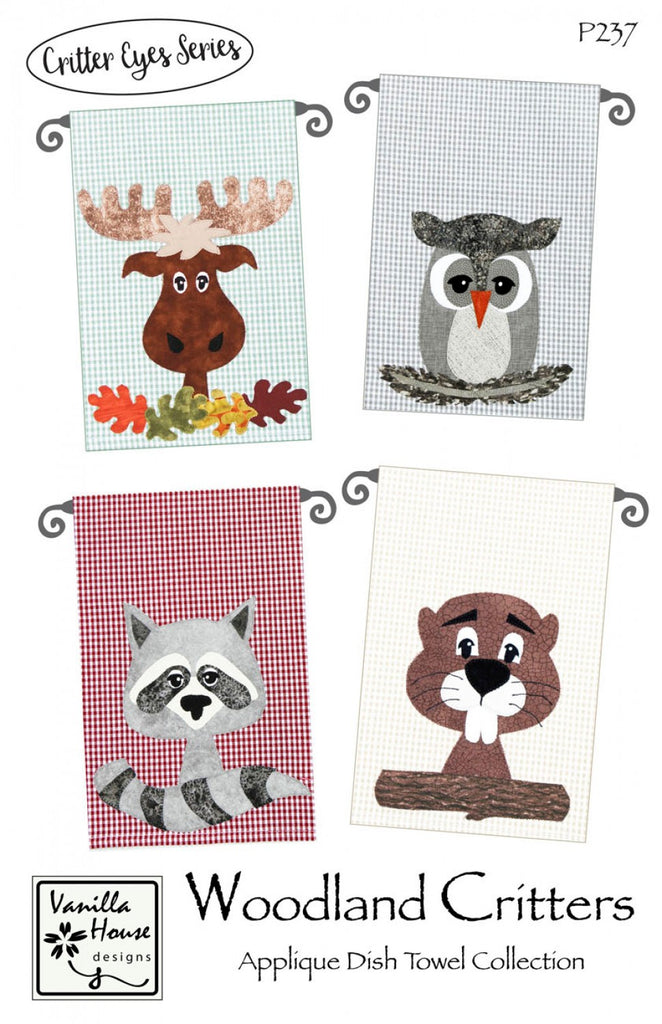 Woodland Critters Applique Dish Towel