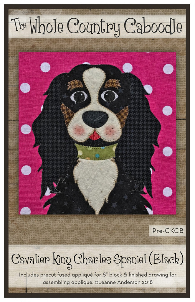 Cavalier King Charles black Precut Fused Applique Pack