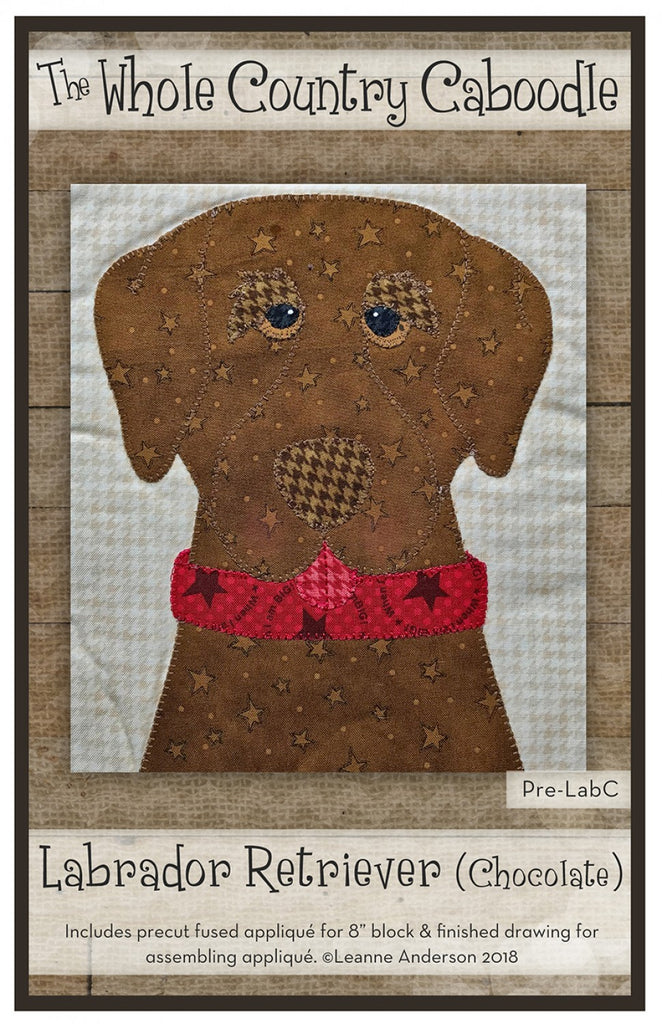 Iron Dark Brown Cut Out lab dog Fabric Sew On Large Dog Applique