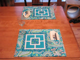 City Squares Table Runner & Placemats With Napkin/Utensil Pocket!