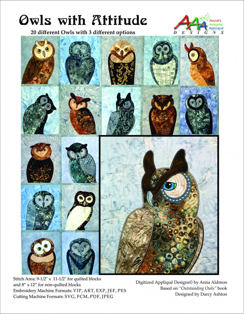 Owls With Attitude Machine Embroidery Cd