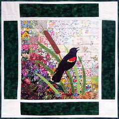 """Rachel's Bird Garden"" Block #10: Red-winged Blackbird"