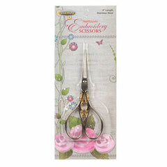 Silver and Gold Teardrop Handle Heirloom Embroidery Scissors 4""