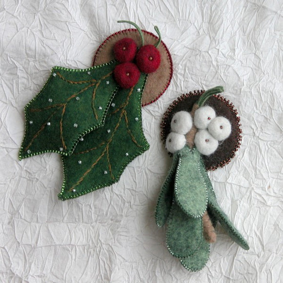 Holly and Mistletoe Pins
