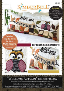 Welcome Autumn Bench Pillow - Machine Embroidery CD