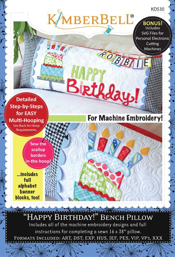 Happy Birthday Bench Pillow - Machine Embroidery CD