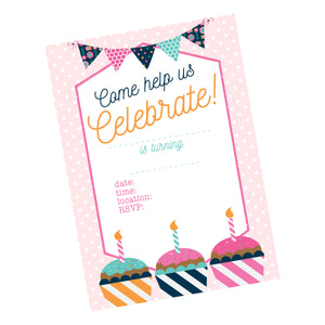 Birthday Cupcake Digital Party Package, Toppers, Invitation, banner & more