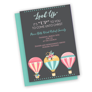 Up theme invitation for Relief Society, young womens or Activity days theme
