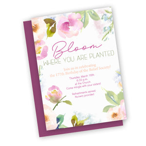 Bloom spring theme Relief society invitation, customized for you FAST, digital printable invitation