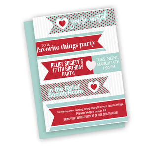 Favorite things or valentines party  invitation, Red and mint favorite things party invitation printable digital file