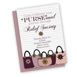 Purse theme invitation for relief society or young womens, digital printable customized for you