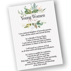 Young Women new theme posters, 3 sizes printables instant download after purchase