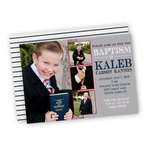 Navy & Red Baptism or Christening Boy Customized Invitation