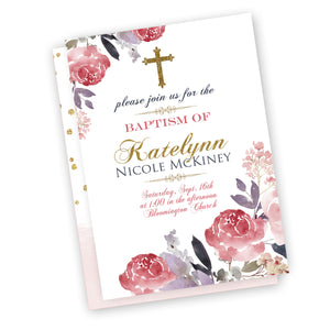 Beautiful Pink & Gold, purple  Baptism/Christening Invitation