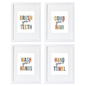 kids bathroom quotes Wall art prints or canvas prints in orange, navy, teal, mustard