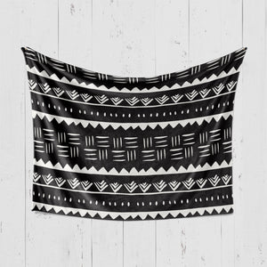 Tribal Aztec minky blanket in black and white