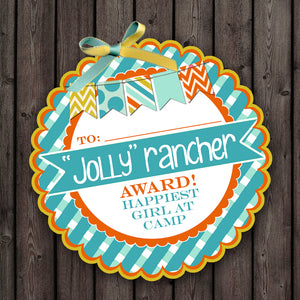 Girls Camp Candy Award 28 Tags, digital printable girls camp tags, printable awards