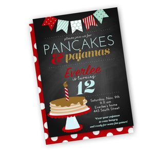 Pancakes and pajamas holiday Party Invitation, customized fast, digital file, holiday birthday party