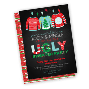 Ugly Sweater Party Invitation, customized fast, digital file, holiday party or neighborhood invitation