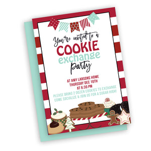Christmas Cookie Exchange Party Invitation, customized fast, digital file, holiday party or neighborhood invitation