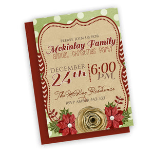 Christmas Party Invitation, customized fast, digital file, holiday party or neighborhood invitation