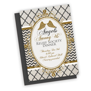 Angels Among Us Theme invitation, printable digital file, Relief society or young women invitation