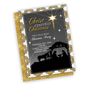Christmas Nativity Invitation, customized fast, digital file ward party or relief society or neighborhood invitation