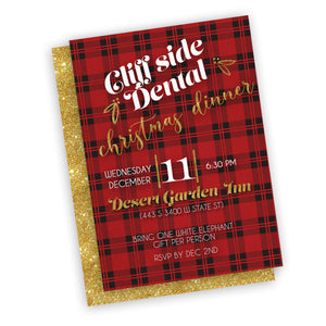 Custom wording Christmas plaid red black invitation, customized for any holiday event