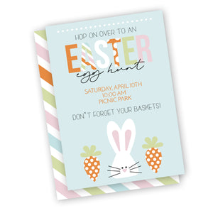 Easter party invitation, easter egg hunt invitation customized digital or printed and shipped