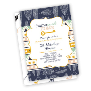 Boho Feathers House Warming Party invitation