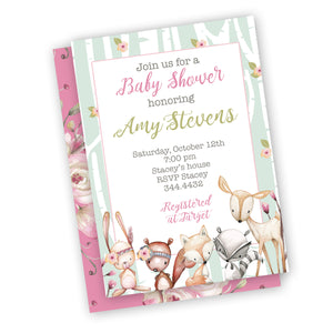 Woodland Baby animal Baby girl shower invitations set of 25+ envelopes