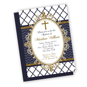 Royal Prince Baptism Customized Christening Invitation