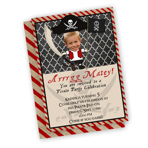Pirate custom picture birthday party invitations