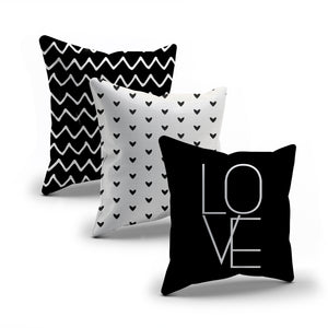 Cute modern black and white love heart throw pillows covers, set of 3 covers