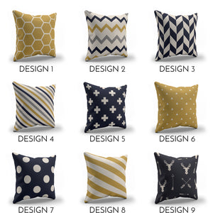 Navy Blue & Mustard yellow throw pillows