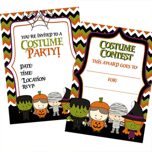 Halloween kids costume party invitation & award printable