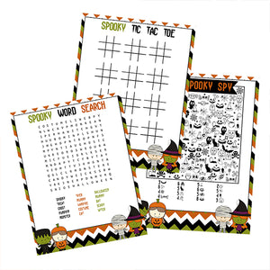 Halloween Kids Party games, Halloween word scramble, halloween i spy & tic tac toe printables
