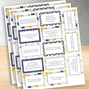 Family Dinner Conversation Starter questions cards for family and kids